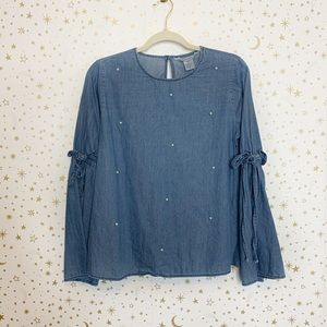 Denim Chambray Pearl Bell Sleeve Blouse Top